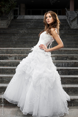 beautiful young woman in wedding dress