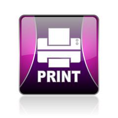 print violet square web glossy icon