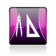 e-learning violet square web glossy icon