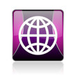 earth violet square web glossy icon