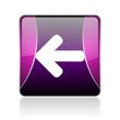 arrow left violet square web glossy icon