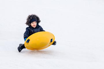 Sledding at winter time