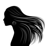 Fototapety Woman Hair style Silhouette