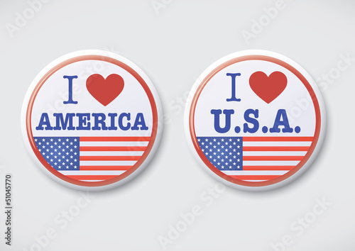 I Love America. i Love USA - Vector Button Badge