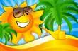 sun on the beach with palm trees