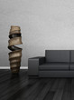 Modern couch in front of wall | 3d interior