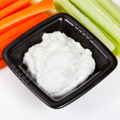celery, carrot with Blue cheese dressing