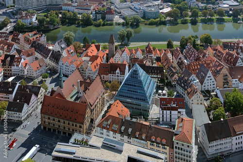 View on Ulm from the tower of Ulm Minster, Germany