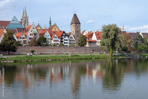 Metzgerturm tower on the shore of Danube River in Ulm, Germany