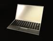 a laptop on black background