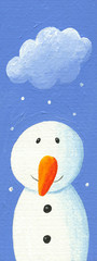 Cute snowman with snow cloud