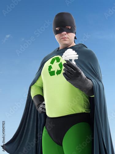 Eco superhero and CFL bulb