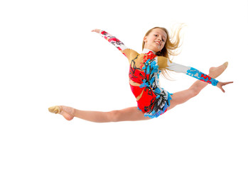 Young girl gymnast jumping