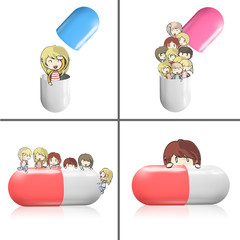 Collection of kids around pill.