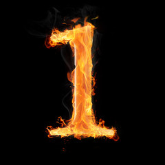 Numbers and symbols on fire