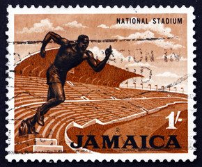 Postage stamp Jamaica 1964 Stadium and Statue of Runner