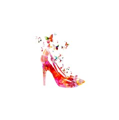 Colorful vector shoe background with hummingbirds