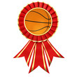 Red ribbon award with basketball