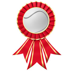 Red ribbon award with a tennis ball