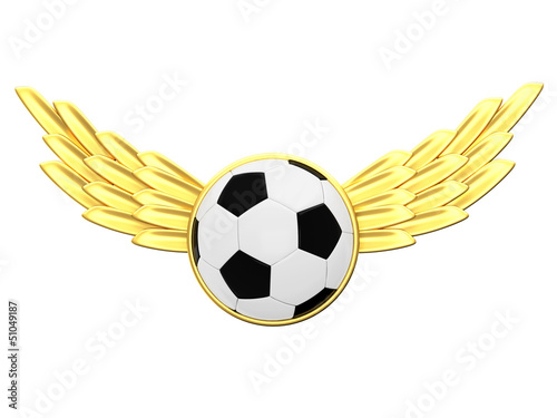 Soccer ball with gold wings