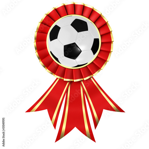 Red ribbon award with a soccer ball
