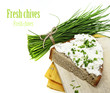 a slice of bread with cheese and chives