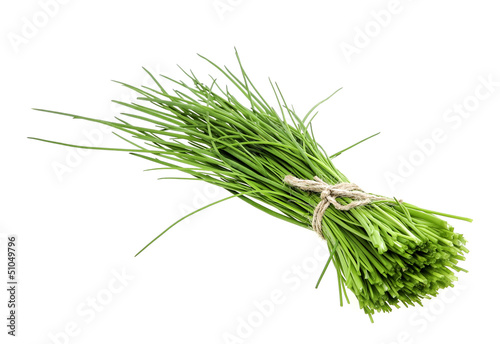 a bunch of fresh chives on white background