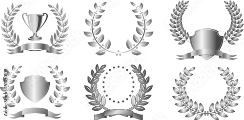 Silver laurel wreaths with ribbon and shields