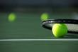 Leinwanddruck Bild - Tennis Ball and Racket