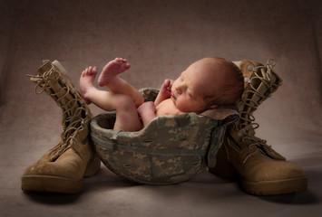 Child in Military Helmet