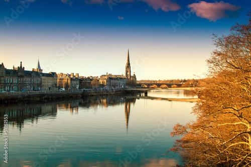 Leinwandbild Motiv View of the River Tay in Perth Scotland
