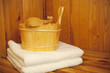 Sauna - Bucket, ladle and towel in sauna
