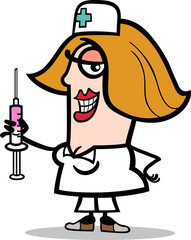 nurse with syringe cartoon illustration