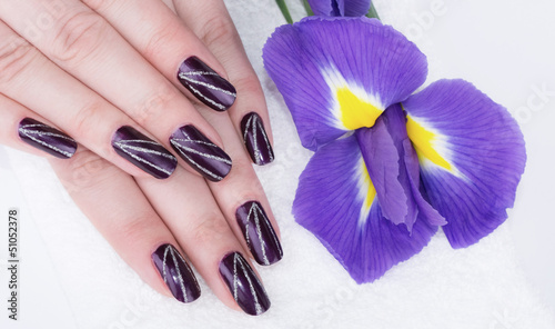 Purple nails manicure and violet flowers