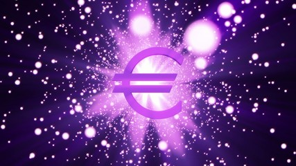 The logo of euro in digital space