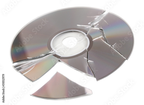 Broken disk with information isolated on white