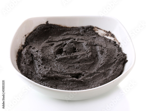 Cosmetic clay for spa treatments, isolated on white
