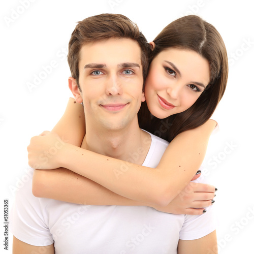 Loving couple isolated on white