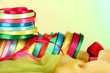 Bright ribbons on light background