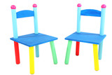 Small and colorful chairs for little kids isolated on white