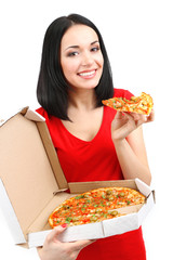 Beautiful girl eats pizza isolated on white