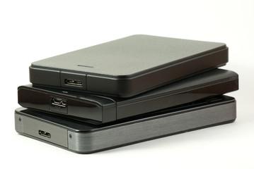 Pile of external USD hard drive