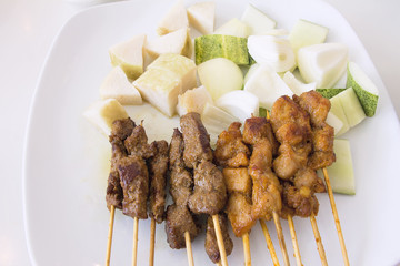 Mutton and Chicken Satay Dish Vertical