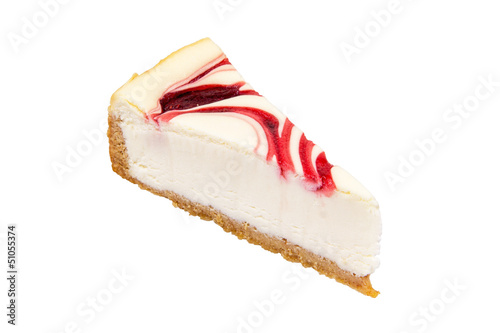 Cheesecake strawberry on a White Background