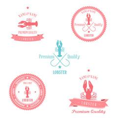 Vintage Lobster Badge set | Editable EPS10. vector illustration