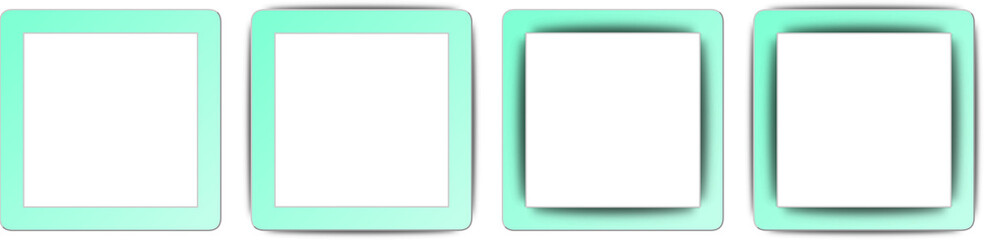 Aquamarine Blue and White Shadow Square App Icon Set