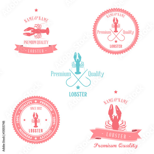 Vintage Lobster Badge set | Editable EPS10. vector illustration