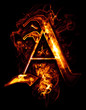 A, illustration of  word with chrome effects and red fire on bla