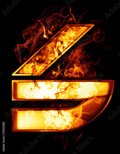 six, illustration of  number with chrome effects and red fire on