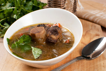 Hearty soup with bone-in ox tail